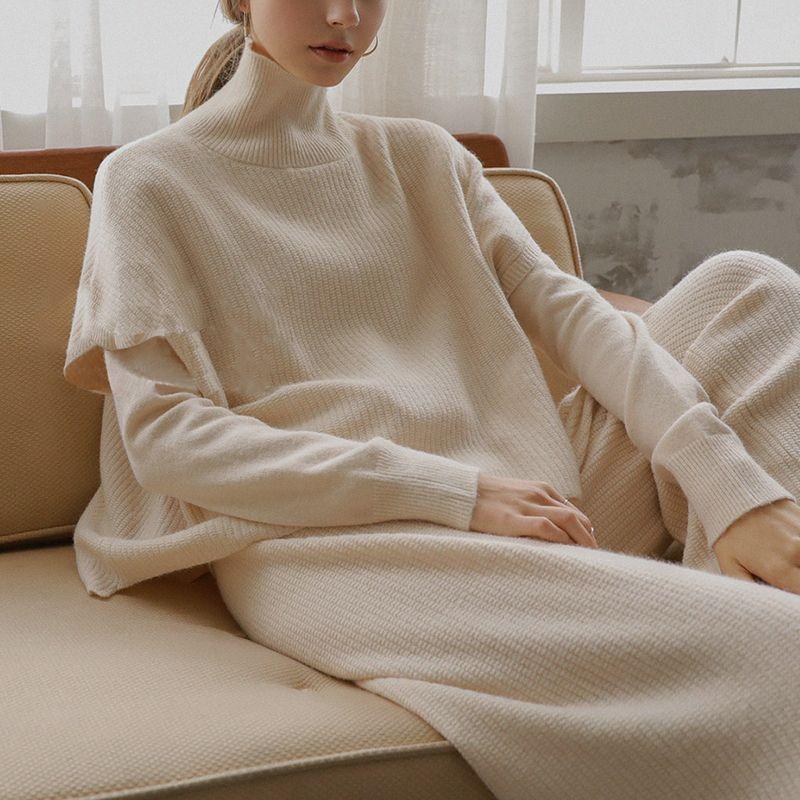 Горячая продажа 2020 Новый дамы костюм Сыпучие вязать свитер из двух частей западного типа старения Упругие штаны X0923