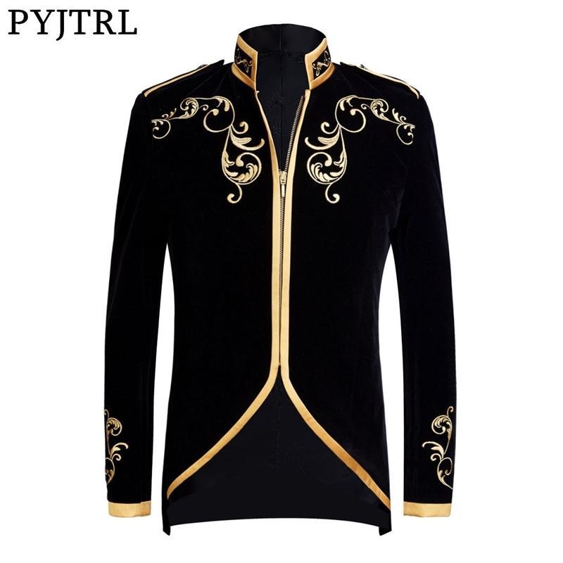 PYJTRL Kadife Nakış Serisi Erkekler İngiliz Stil Sarayı Prens Kadife Altın Nakış Blazer Düğün Damat Şarkıcılar Ceket 201113