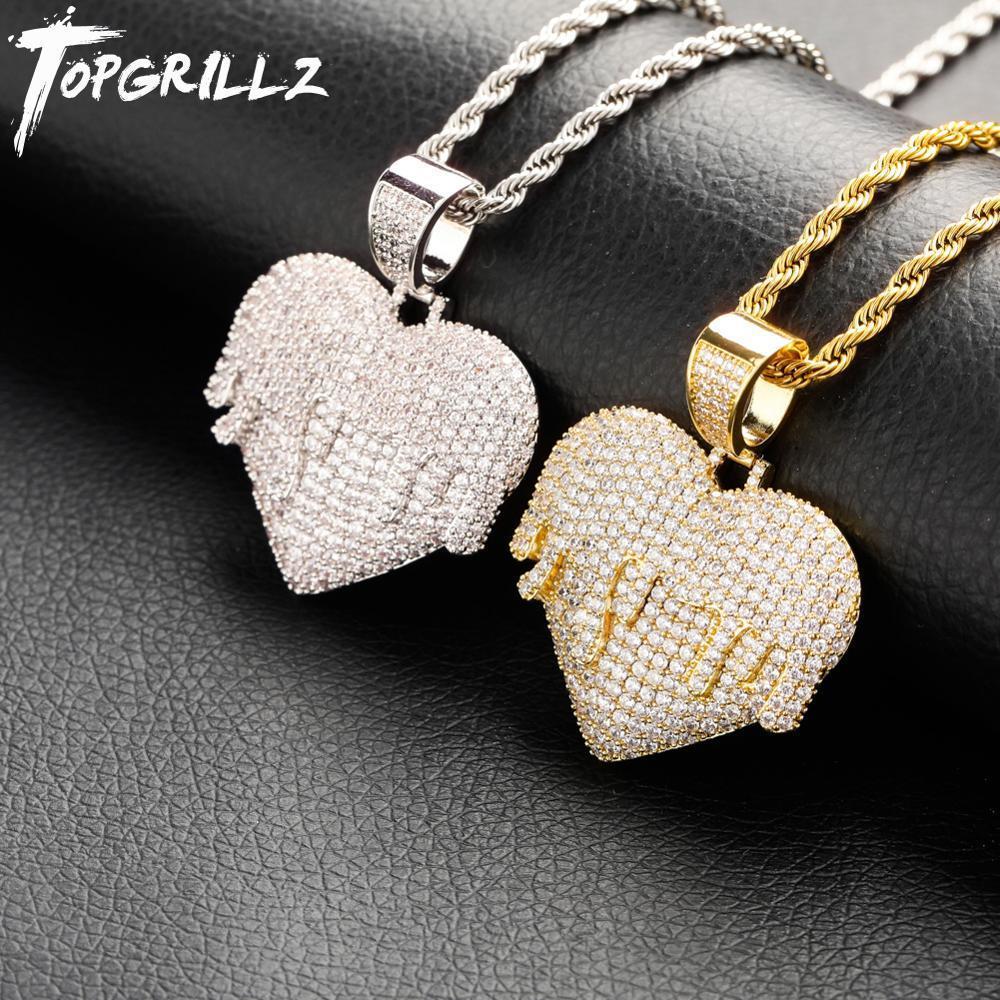 TopGrillz novo coração pingente colar com cadeia de tênis 4mm cadeia cubana gelado fora cúbico zircão hip hop balancim jóias j1218