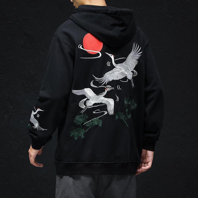 MrGoldenBowl stile cinese ricamato uomini felpe con cappuccio 2020 autunno dei nuovi uomini di Cappuccio Felpe uomo Streetwear Pullover Casual