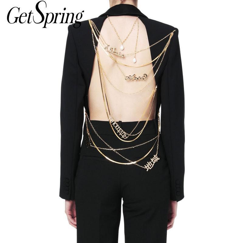 Женские костюмы Blazers Gestpring Женщины Blazer Backblob Dange Out Дамы Черное пальто Одно кнопка Длинные Рукава Металлическая цепь Куртка