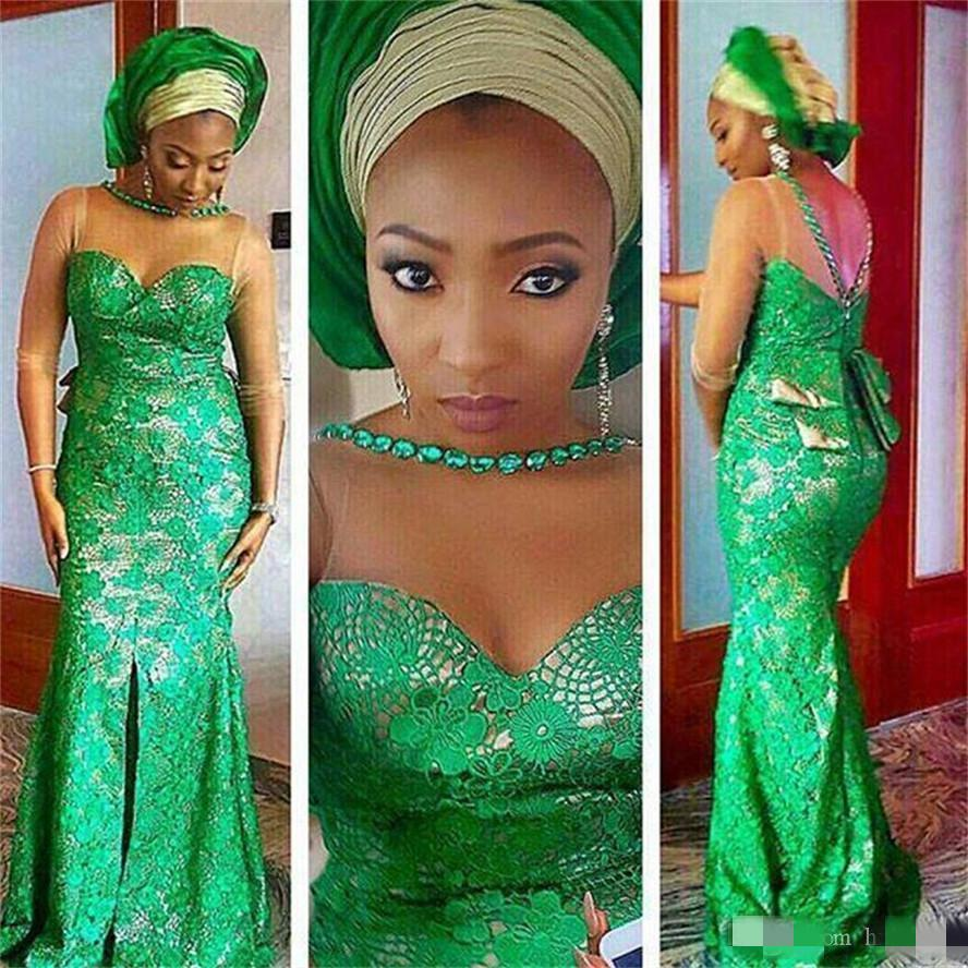 Arabic Dresses Evening Dresses Mermaid Nigerian Lace Beaded Sheer Neck Plus Size African Long Sleeves Prom Dress Aso Ebi Formal Party Gowns