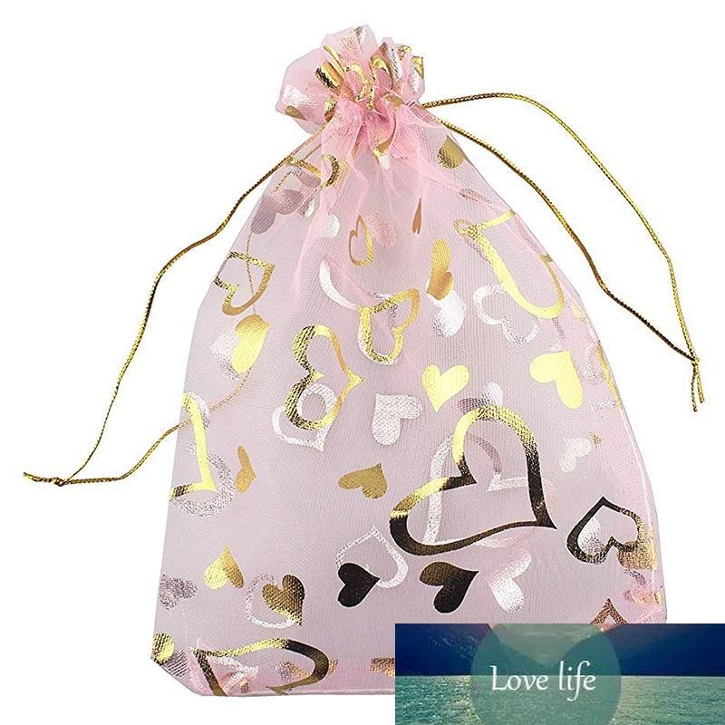 100 قطع 9x12cm القلب المطبوعة الوردي الأورجانزا مجوهرات pouc الأورجانزا الرباط الحقائب الزفاف تفضل الحلوى gif