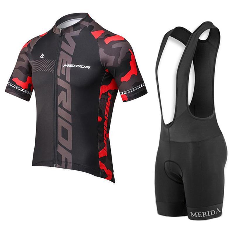 2019 New Team Merida abbigliamento da ciclismo MTB Bib Bib Bib / Pantaloncini con 3D Gel Pad Tuta estate traspirante uomini in bicicletta Jersey Set Y032707