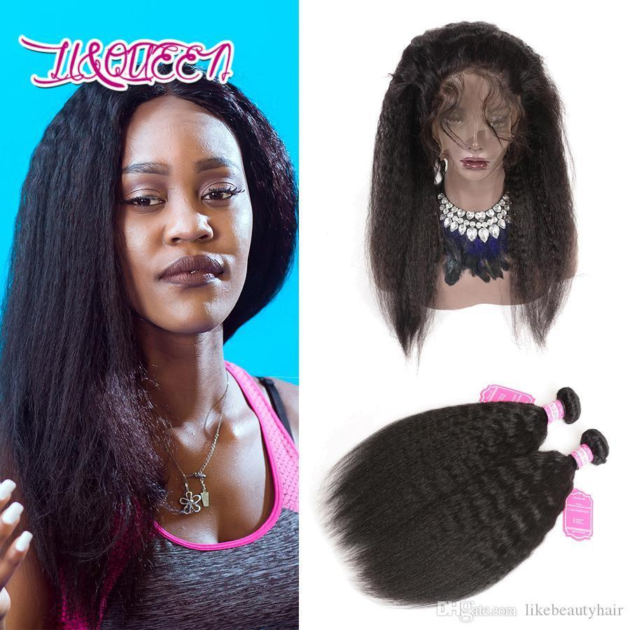 360 laço frontal com pacotes Malásia cabelo humano 2 pacotes com fechamento frontal Malaysian Kinky Hands Virgin cabelo com 360 lace frontal