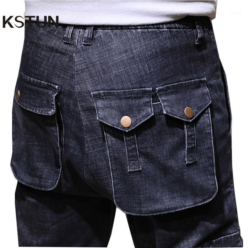 Calças de brim dos homens KSTUN Mens Cargo com bolsos laterais escuros Azul Azul Basculador Homens Elastic Elastic Cintura Calças Relaxado Bis Size1
