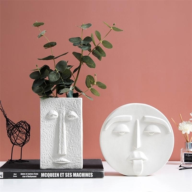 Свадебные вазы для цветов Nordic Home Украшения для дома Аксессуары Современные цветочные вазы Керамическое Человеческое лицо Вазы Гостиная Украшения LJ201208