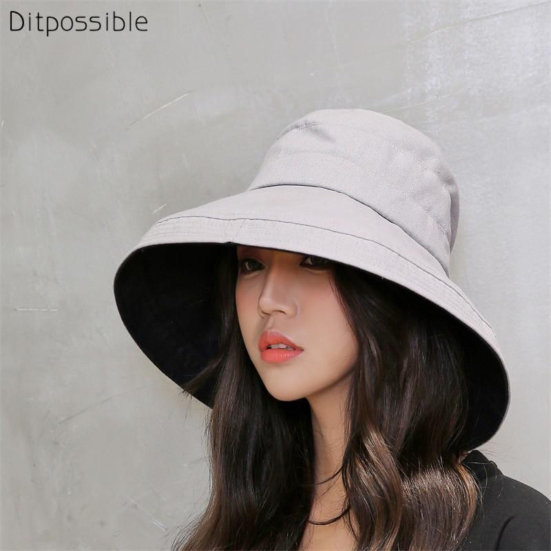 Ditpossible kadınlar moda geniş ağzına kova şapka katlanabilir balıkçı kapaklar şapka yaz plaj şapkası panama
