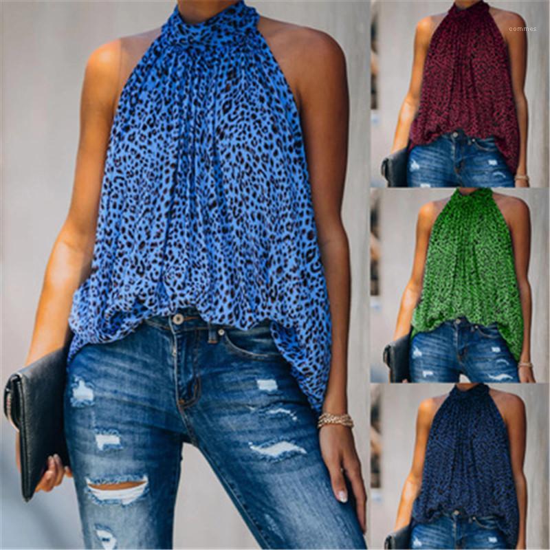 Casual Cómodo Tshirts Mujeres Leopardo Imprimir gasa Top Moda Tendencia suelta Sin mangas Cuello redondo Camiseta Desertar nueva hembra