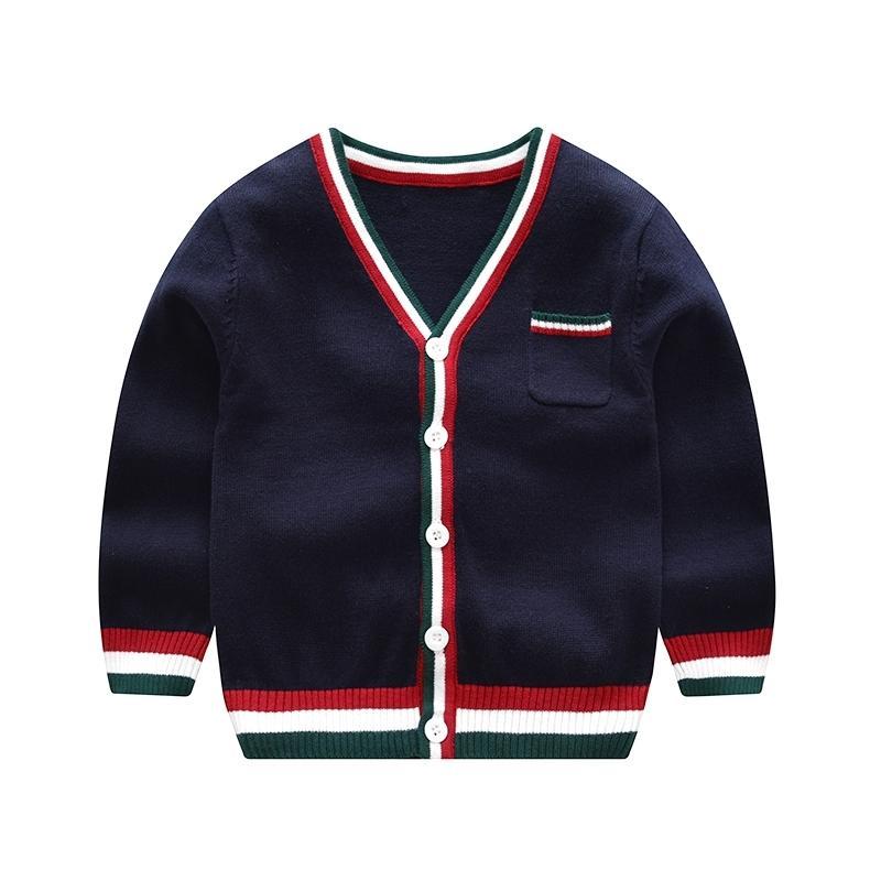 Vinnytido con scollo a V Bambini per bambini Cardigan Boys Boys Maglioni Single Breasted Maglione a strisce per ragazzo Y200901