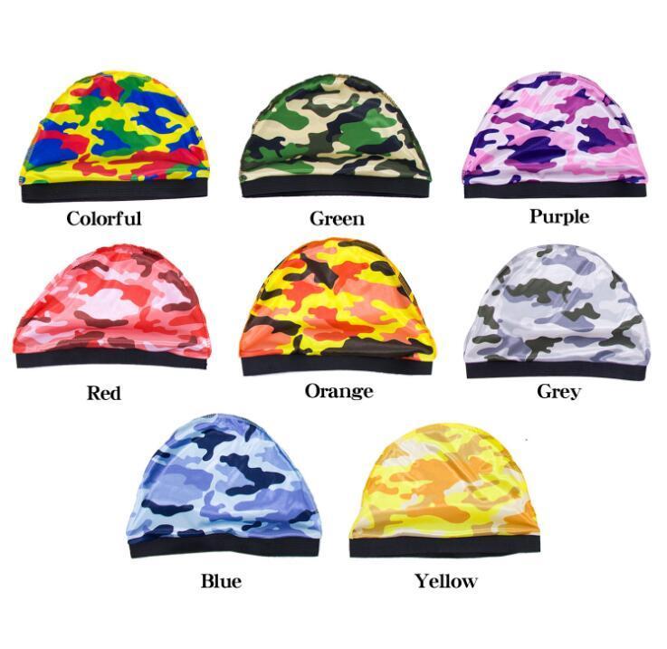 Мужчины Женщины Камуфляж Silky Dome Wave Caps Wide эластичная лента парик Химиотерапия Hat шлем Beanie Тюрбан Уход за волосами 24 * 17см