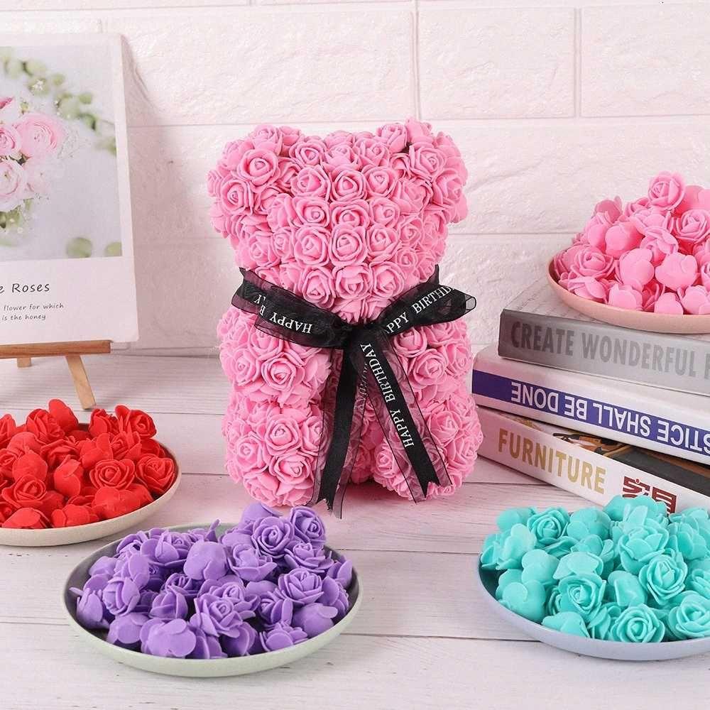200 unids Barato PE Mini flores artificiales para el hogar Accesorios de decoración de boda Fake Foma Osos Scrapbook DIY Guirnalda Costura N40R #