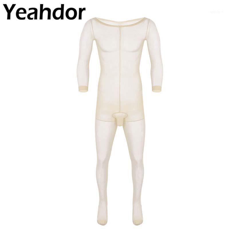 Мужские G-струны мужские сиссические женское белье скинни протягивают чулок закрытый пенис оболочки полного тела сверхтонкие колготки с длинными рукавами Bodysuit1