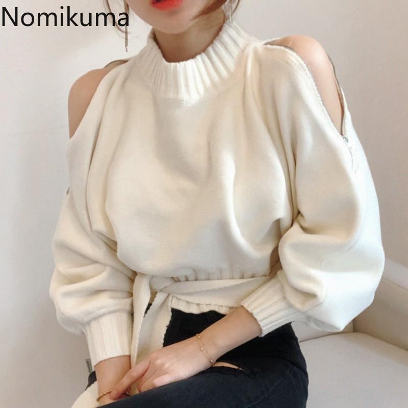 Nomikuma coreano elegante lavorato a maglia Pullover solido di colore a maniche lunghe con spalle Elegante Bandage Maglioni Donne vita sottile 3d247