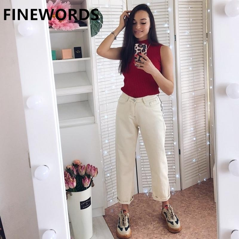 Acinewords outono coreano solto harem namorado jeans para mulheres plus size bege branco jeans vintage casual perna larga calças denim lj200911