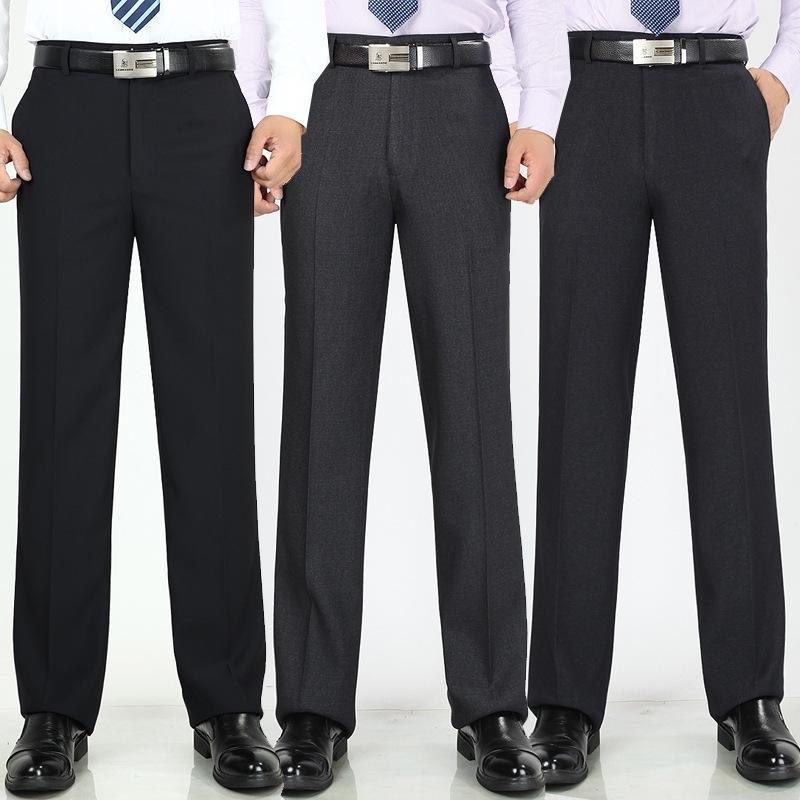 İlkbahar Yaz erkek Ofis Pantolon Yüksek Bel Ince Gevşek Iş Rahat Takım Elbise Pantolon Kırışıklık Karşıtı Profesyonel Elbise Pantolon 201123