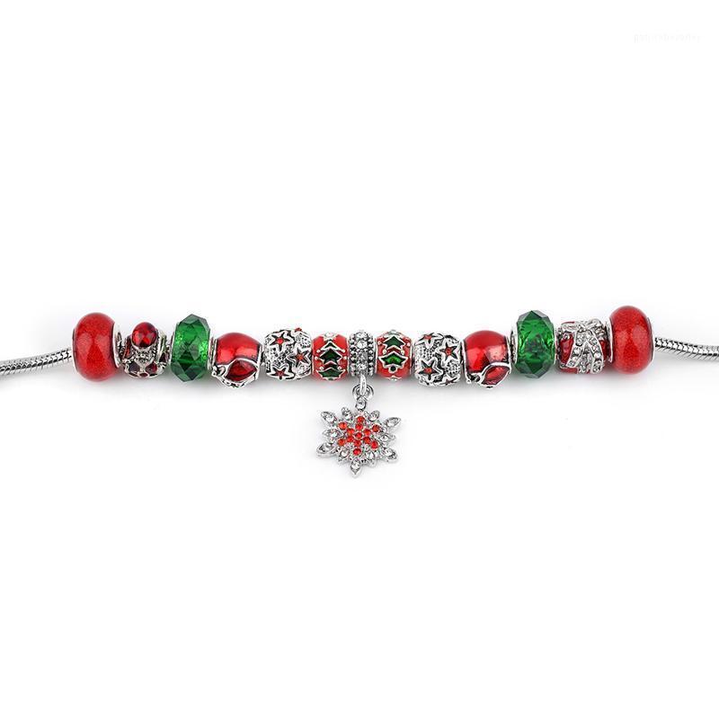 Bağlantı, Zincir Panjia Stil DIY Boncuklu Nefis Yılan Kemik Cam Boncuk Bilezik Kırmızı Kar Tanesi Hediye Noel Bilezik1