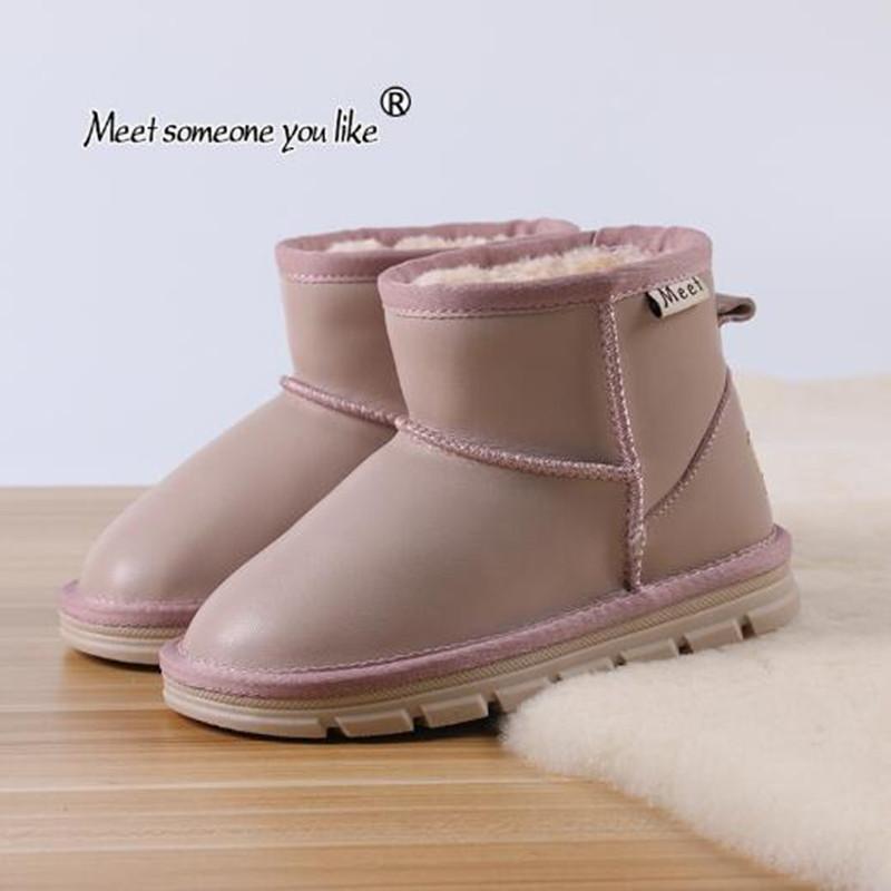 3-12years vecchio velluto Bambini Neve ragazze di inverno Ragazzi Inoltre pelle Stivali del cotone del bambino ShoesX1024