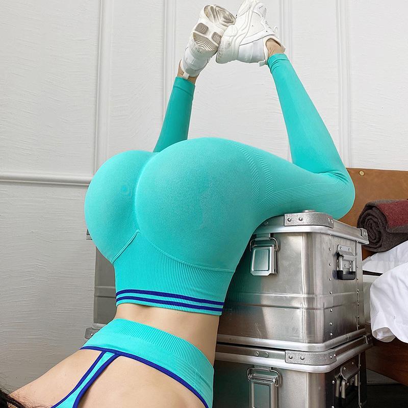 Calças de yoga sem emenda Stretchy cintura alta compressação compressiva mulheres barriga controlar leggings empurre as calças esportivas de retalhos da listra