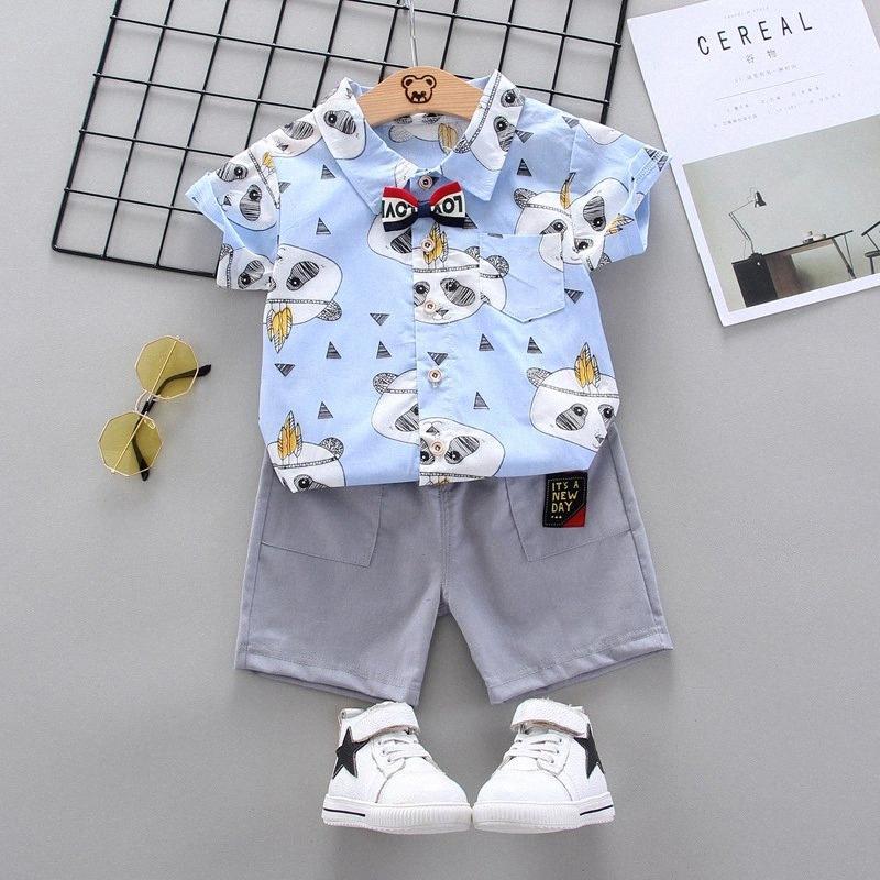 Coton de bébé de sports de loisirs garçon T-shirt + Shorts Ensembles Vêtements tout-petits Vêtements bébé garçon WzKf #