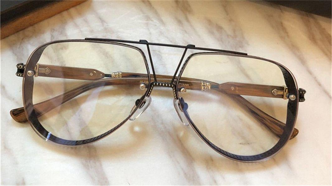 Nuevos hombres gafas ópticas diseño gafas de sol piloto marco de metal popular moda gafas estilo hd lente
