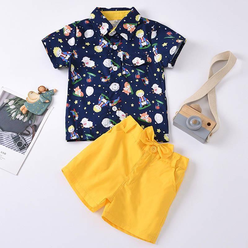 Conjuntos de ropa Baby Boys Verano Niños Dibujos animados Mangas de manga corta T-shirt T-shirt + Shorts 2pcs traje niños caballero ropa