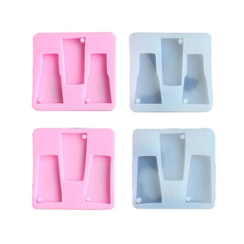Cuadrado Tipo botella de la forma del molde la resina de epoxy de silicona 2 colores jalea Torta de la galleta galleta Snack-Molde helado Mousse Moldes 3HL L2