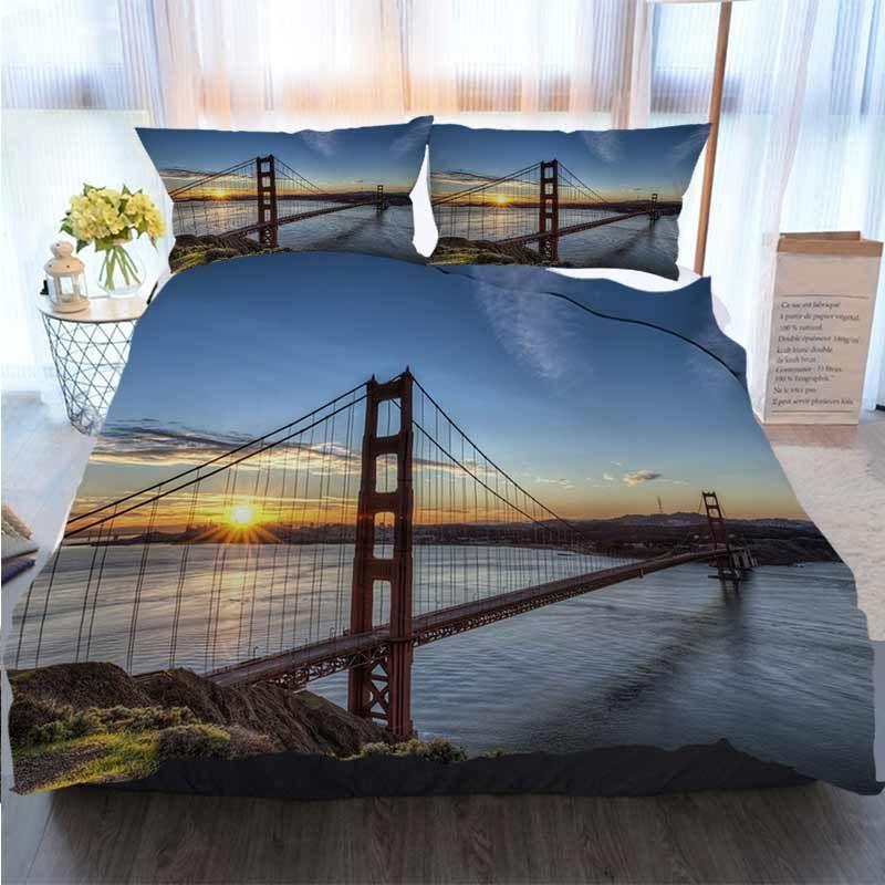 3D Printed С Рождеством Пододеяльник Golden Gate Bridge At Sunrise пододеяльник Designer кроватью стеганых Наборы