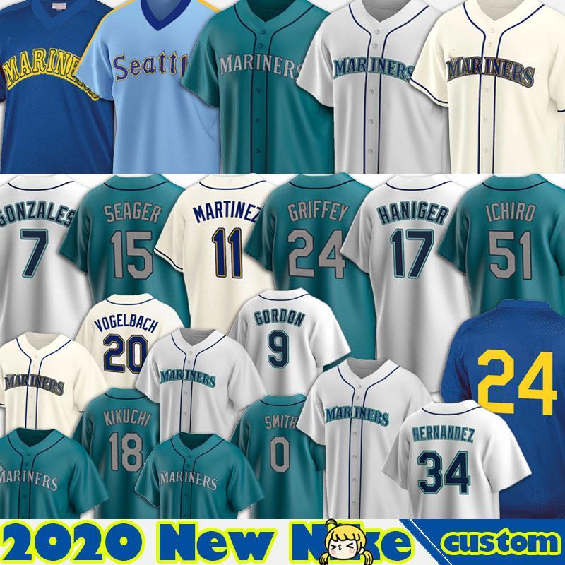 24 Ken Griffey Jr. Mariners Jersey 34 Felix Hernandez 11 Edgar Martinez 17 Mitch Haniger 15 Kyle Seager 51 Suzuki Ichiro 7 Marco Gonzales Cu