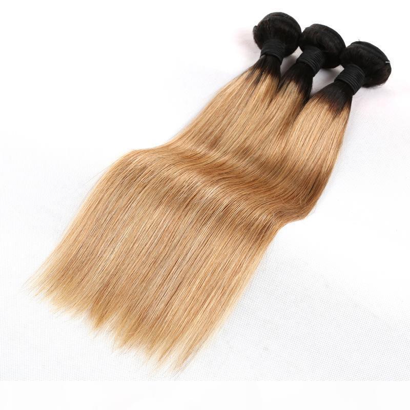 10A блондинки человеческие пакеты человеческих волос 1 кг 10 шт. Лот необработанные бразильские девственные волосы наращивание волос Weave Color1B 27 вырезан из одного донора