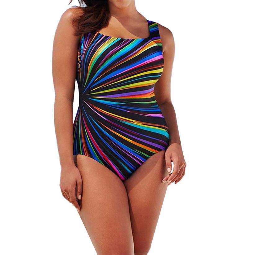 قوس قزح مخطط Monokini ملابس على الموضة للنساء بالاضافة الى حجم قطعة واحدة بذلات ملابس المايوه شاطئ الاستحمام دفع ما يصل بيكيني