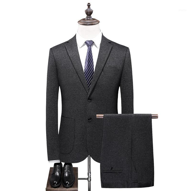 Шерстяная ткань мужской костюм набор зимний костюм 2 шт. Мужские Blazer Slim Fit Casual Blazers Мода Kombinezon Roboczy Одежда BE50XF1