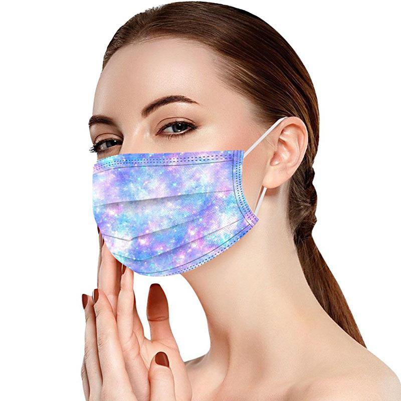 Disponibles Mascarillas protectoras desechables adultas de tres capas A prueba de polvo Disprimible Disprimible Máscaras impresas de moda gradiente de moda STARRY SKY Máscaras