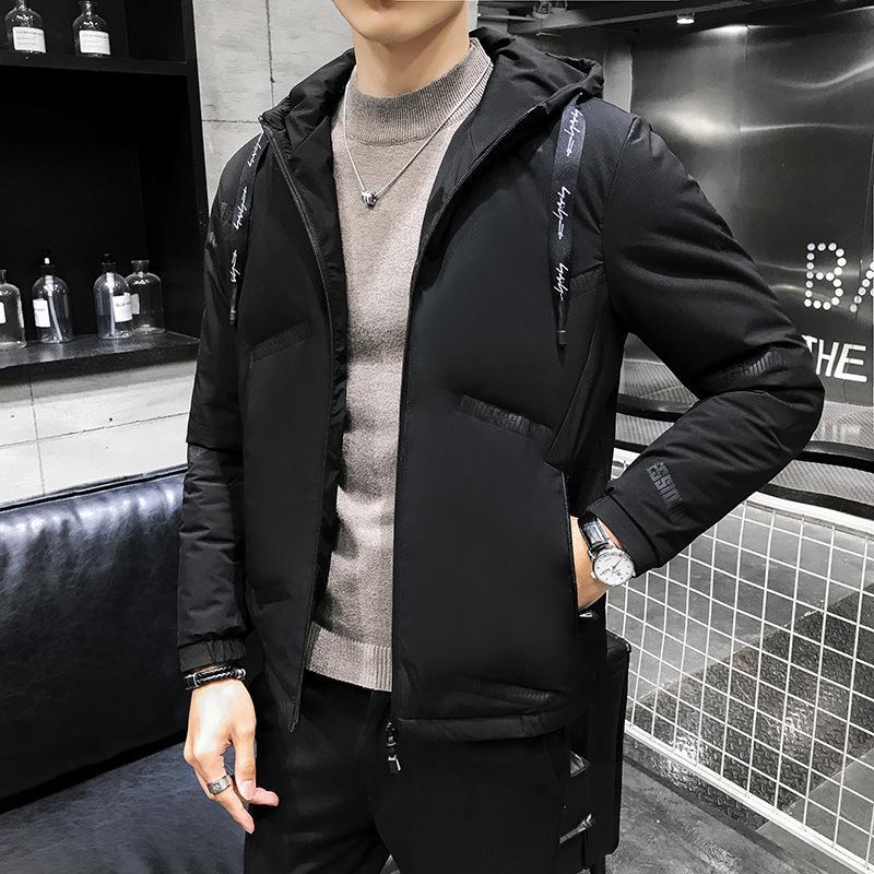 moda aşağı ceket erkek ince kısa beyaz ördek aşağı Sonbahar ve kış sıcak gündelik büyük boy erkek ceket kalınlaşmış