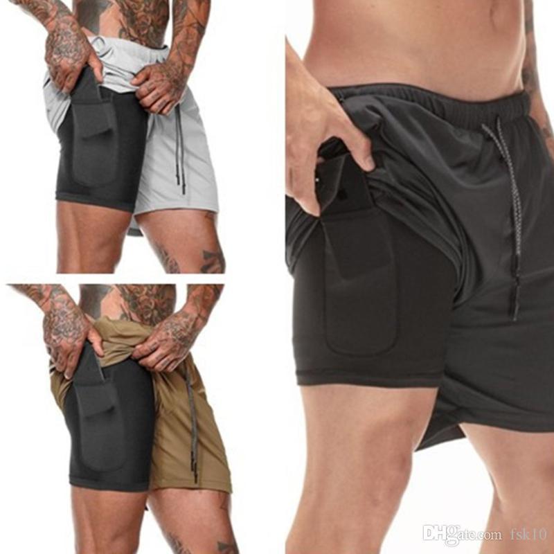 1 Running Şort Koşu Gym Fitness Eğitimi Hızlı Kuru Plaj Kısa Pantolon Erkek Yaz Spor Egzersiz Bottoms Giyim Erkekler 2