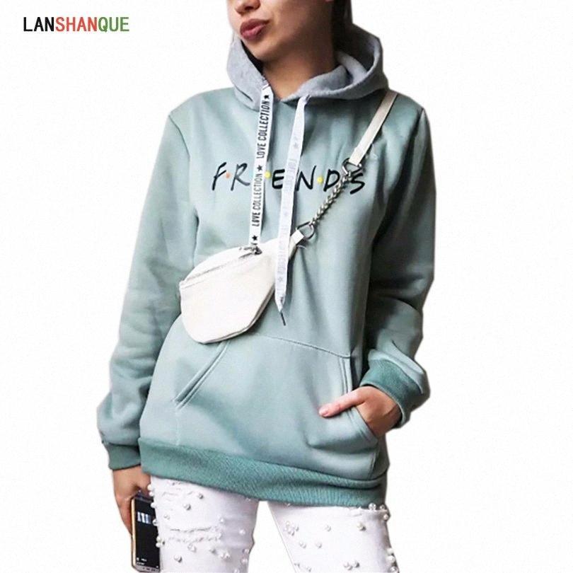 2019 New Friends Printing Hoodies Sweatshirts Harajuku Rundhalsausschnitt Sweats Frauen Kleidung Feminina Loose Women Outwear Fall Y200106 X20B #