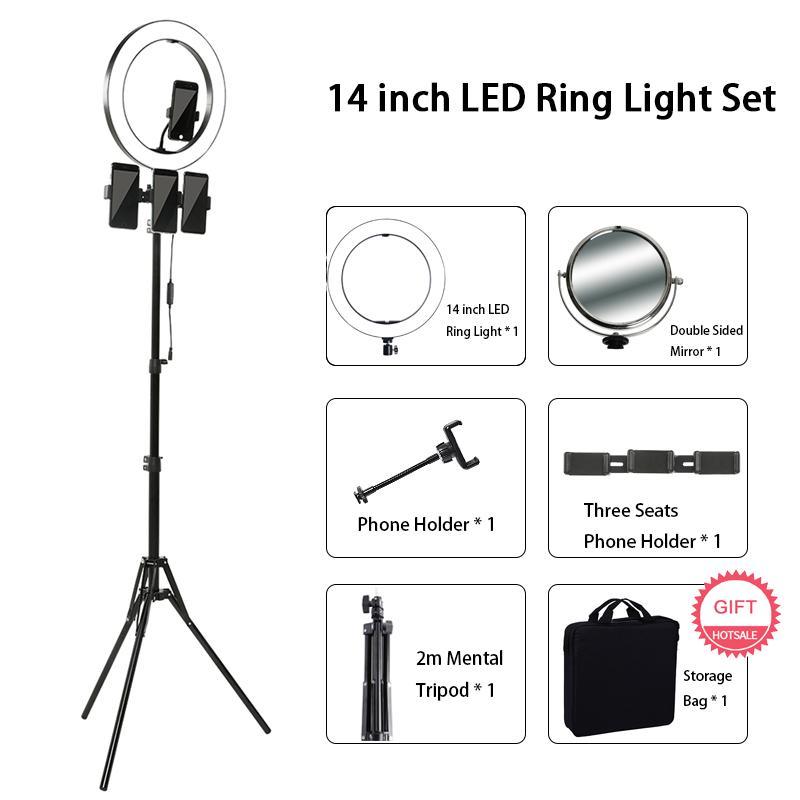 14 pollici della lampada dell'anello di LED per fotografica ingrandita YouTube Live 3200K-5600K selfie Light Ring Con treppiede trucco della lampada Artista