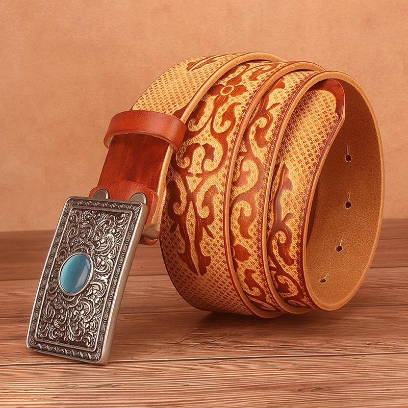 Diseño de calidad estilo étnico chino estilo auspicioso en relieve de estampado de vaca brillante cinturón de cuero genuino para hombres 3.8cm de ancho 201111