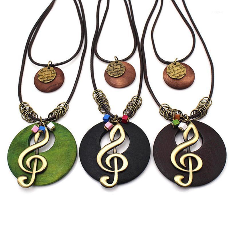 Кулон ожерелья старинные длинные ожерелье мода ручной работы ювелирные изделия древесина кожаная кожаная геометрия записки бусины ювелирные изделия колье Femme kolye1