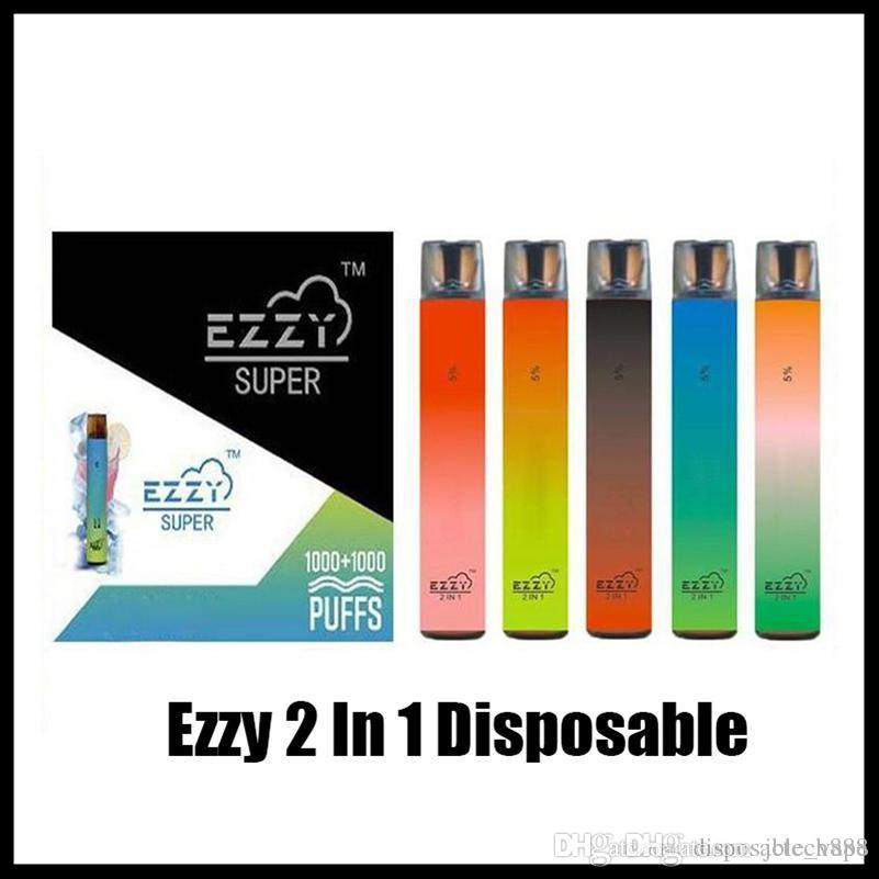 Ezzy Super 2 en 1 Diseño Vape desechable con la batería de 900mAh 6.5ml POD 2000 Puffs PK Lux Air Bar Kangvape Onee