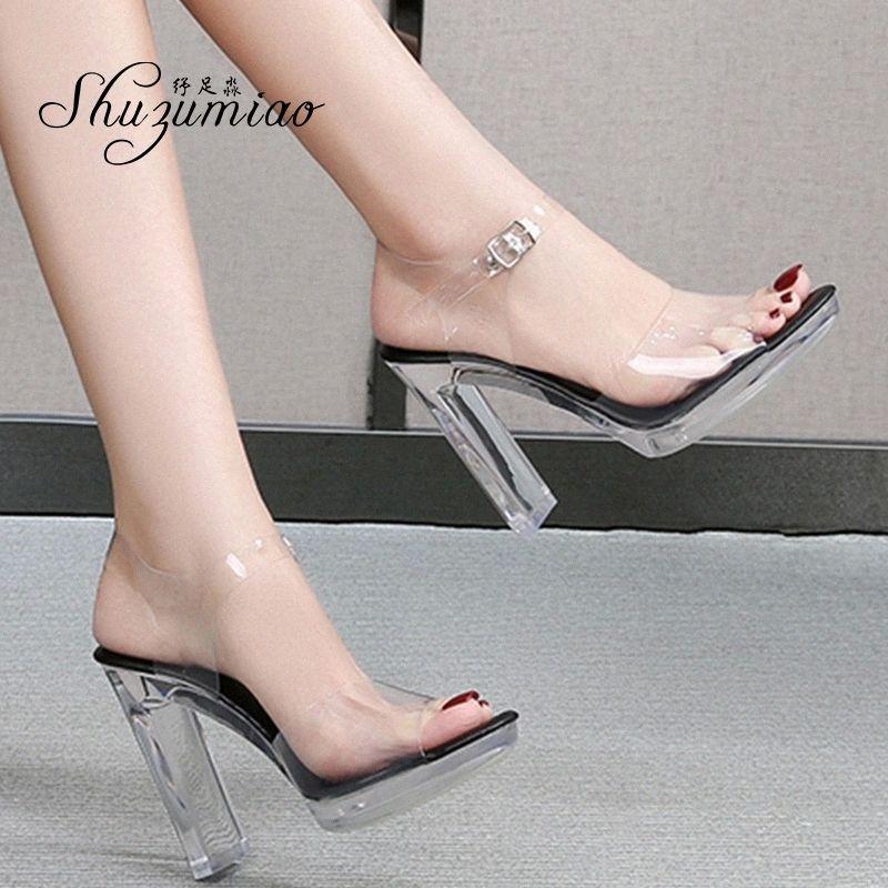 Shuzumiao 2020 Yaz Yeni Sandalet Kadın Moda Rhinestones Kare Topuk Şeffaf Kadın Ayakkabı Yüksek Heels11cm Kadın Parti Ayakkabı # GM9F