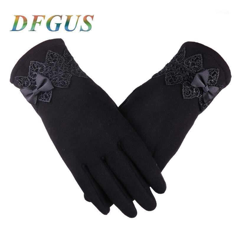 Cinco dedos luvas mulheres para inverno lace bow senhoras meninas guantes touch screen mittens luva de lã quente1