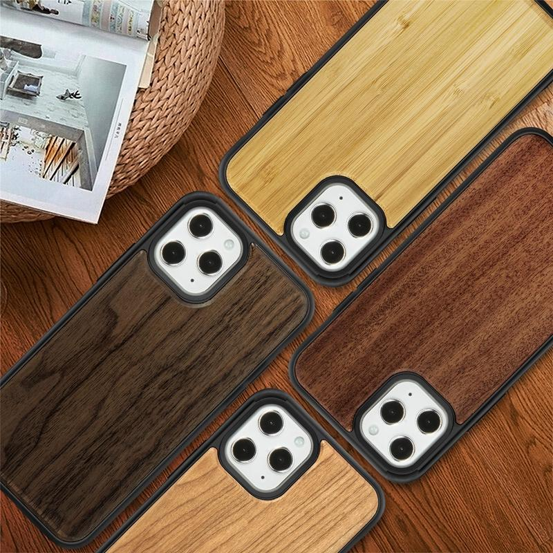 For Iphone 12 11 Pro Max X XS XR Max Wood Case Real Bamboo Wooden Cases Back Cover With TPU Shock-proof DHL