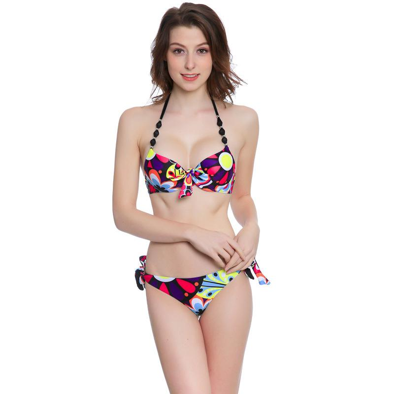 Nœud frontal chaud bikini de bikini rose swing maillot de bain bandage sexy taille haute taille biquini maillot de bain maillot de bain push up maillot de bain brésilien