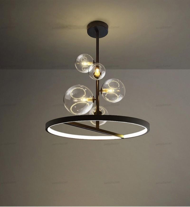 Bola de vidro criativo moderno Nordic G9 Chandelier Limpar LED Preto luminária para um jantar Living Room Bar Restaurante Coffee Shop