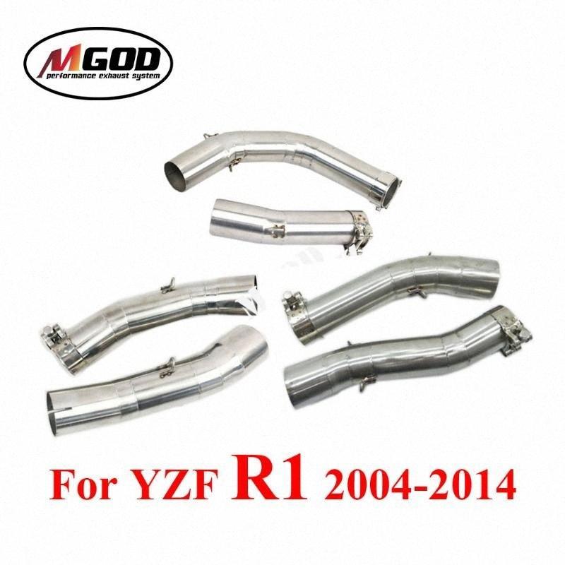 Pour YZF-R1 YZF R1 2004-2014 Année Pot d'échappement Slip-on connecteur Mid Moyen lien Tuyau Évasion Moto modifié Silencieux 0Bsj #