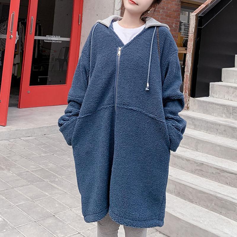 2020 Mode Grande Taille Femme Automne Hiver Long épais manteau laine de laine lâche Vestes de coupe-vent à capuche à capuche femelles N1103