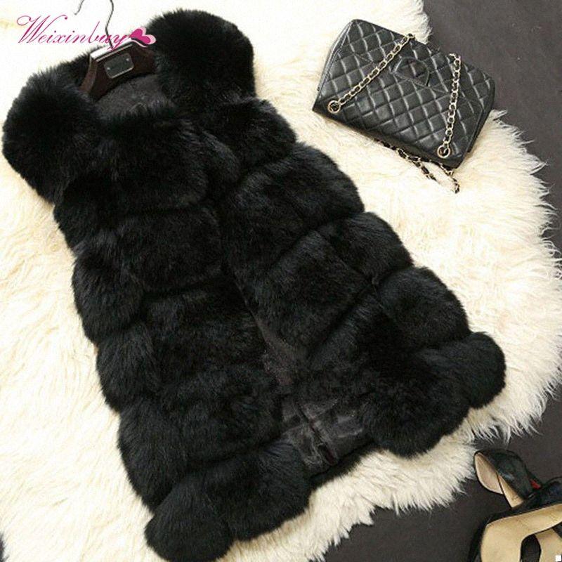 WEIXINBUY femmes chaud gilet de fourrure de Faux Gilets Manteau de fourrure de femmes élégantes manteaux de veste d'hiver de haute qualité Furry Poilu Pardessus hp4R n