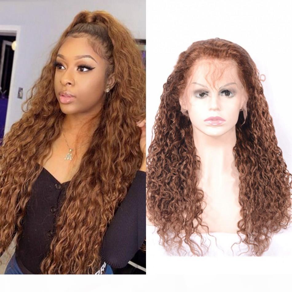 Pérou cheveux humains Vague de dentelle Perruques # 30 130% de la densité pré Pincées Lace Front Wigs pour les femmes noires