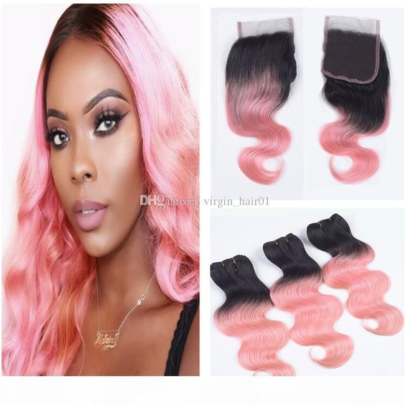 8A barato Dos tonos 1b Onda rosa onda onda ondulada Virgen Human Hair 3 paquetes con 4x4 encaje Top Cierre 4pcs Lot